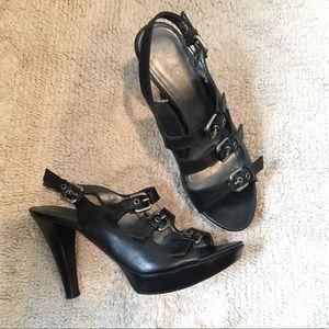 Marc Fisher strappy slingbacks heels sandals black